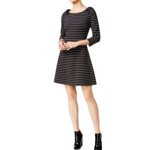 MAISON JULES Black Knit 3/4 Sleeve Stripe Dress M